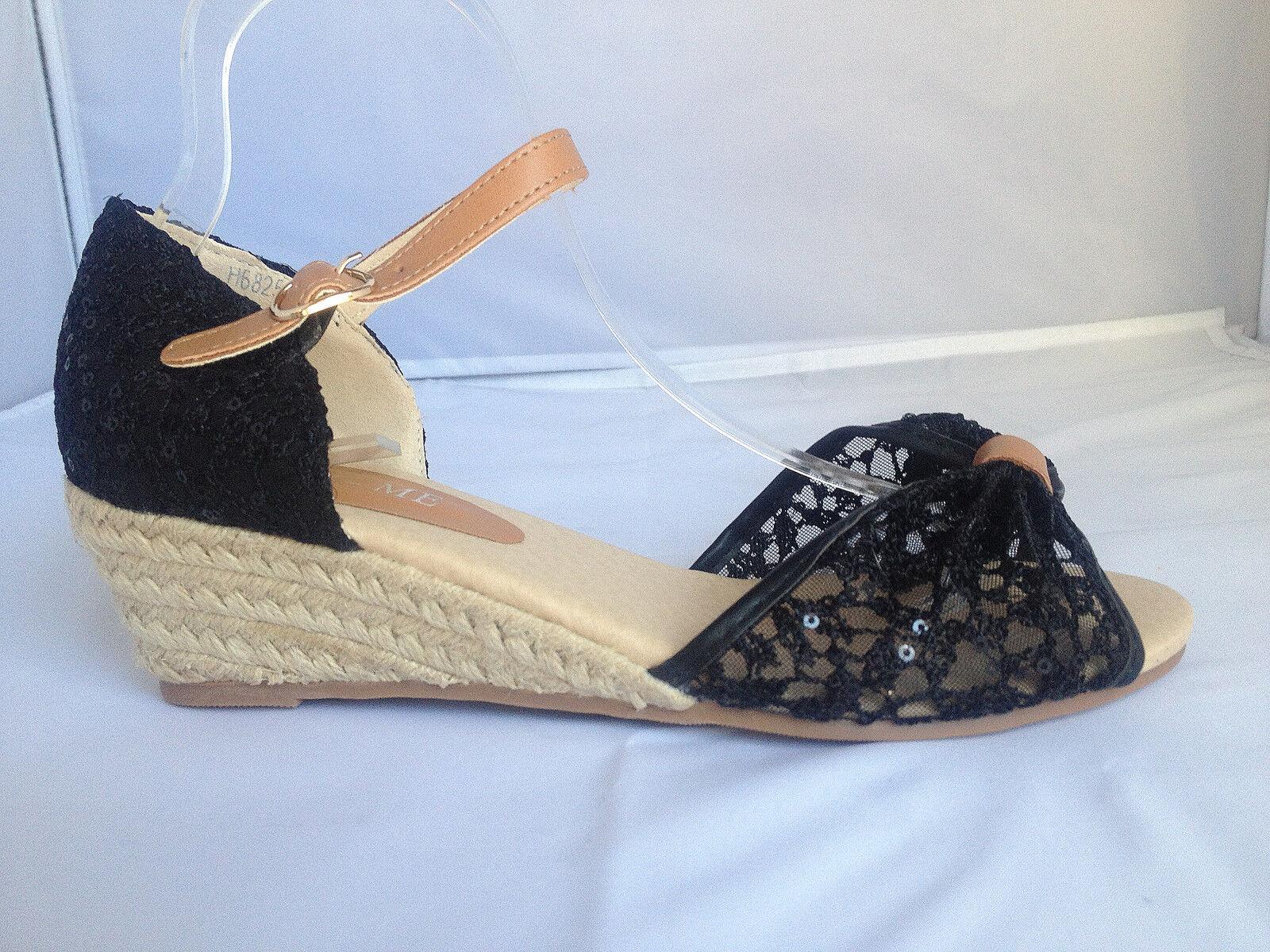 Sandales talon compensées escarpins bout ouvert femme chaussure dentelle H6825-1