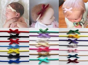 Baby Girls Skinny Teeny Velvet Bow Soft Elastic Headband Hair Band ... f47e245e8be