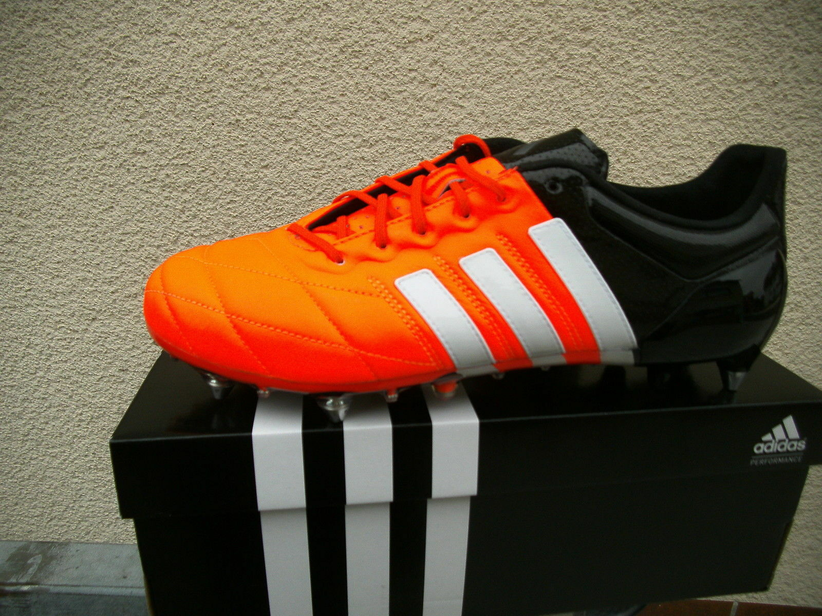 Adidas ACE 15.1 SG Leather (B32814) Orange-Schwarz-Weiß  Gr. Gr. Gr. 41 1 3 - 43 1 3 - 4 1b7c4e