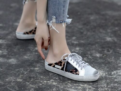 SIZE 35-40 MW010381 PRE-DIRTIED LEOPARD PRINT LACE UP SNEAKERS MULES