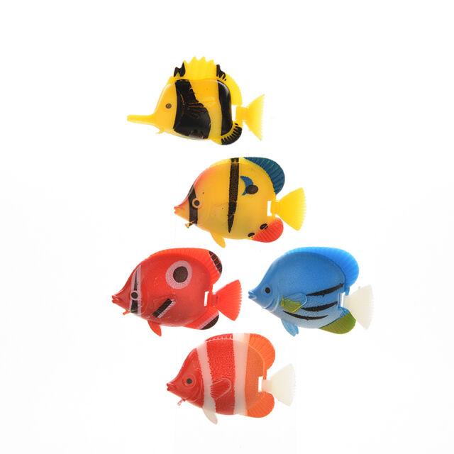 5x Artificial Tropical Fish Floating Moveable Aquarium Fish Tank Toy IO