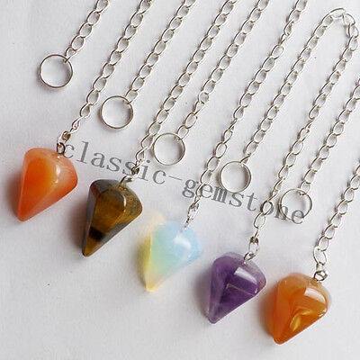 5pcs Faceted Mixed Gemstone Pendulum Pendant Bead F066
