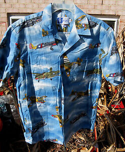 RJC-WWII-WAR-PLANES-Design-LARGE-100-Cotton-SS-Hawaiian-Style-Men-039-s-Shirt