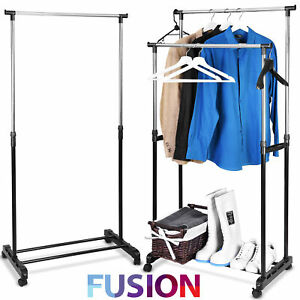 Garment-Rack-Clothes-Drying-Coat-Hanging-Rail-Storage-Stand-Adjustable-On-Wheels