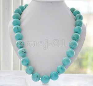 Genuine-8-10-12-14mm-Natural-Blue-Turquoise-Round-Gemstone-Beads-Necklace-18-034-AAA