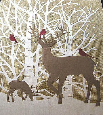 """Happy Holiday Table Runner Reindeer in the Snow with Cardinals 13"""" X 72"""""""