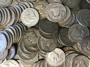 Lot-of-6-Coins-3-FACE-VALUE-Franklin-Half-Dollars-90-SILVER-HALF-DOLLAR