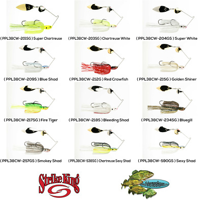 Strike King Spinnerbait PPL38CW-209S Blue Shad Tandem Willow 3//8oz