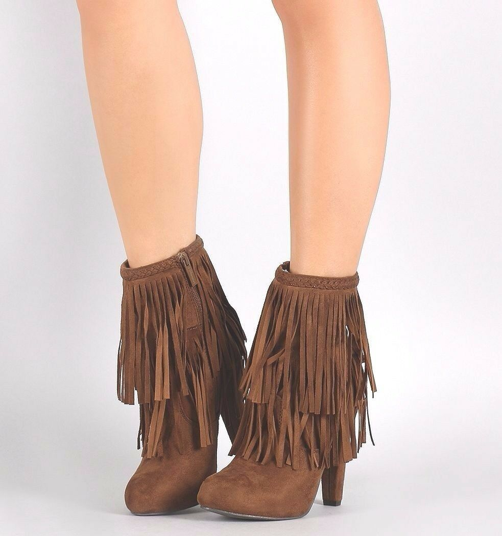 Fringe Ankle Booties Braided High Heel  Women's Western Boots shoes Side Zipper