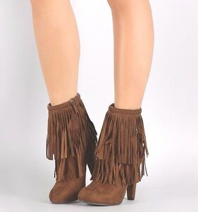 Fringe Ankle Bootie Western Boots Braided High Heel Stiletto Womens Shoes