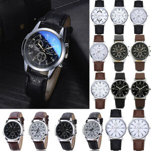 Mens-Stainless-Steel-Leather-Strap-Watch-Military-Formal-Dress-Wrist-Watches-VS