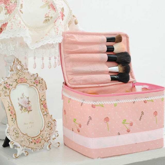 Cute Pink Cosmetic Travel Pouch Case Bag Handbag Container Toiletry Polyester