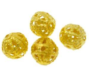 100-Metallperlen-8mm-Rund-Gold-Filigran-Perlen-Zwischenteile-Spacer-BEST-M539