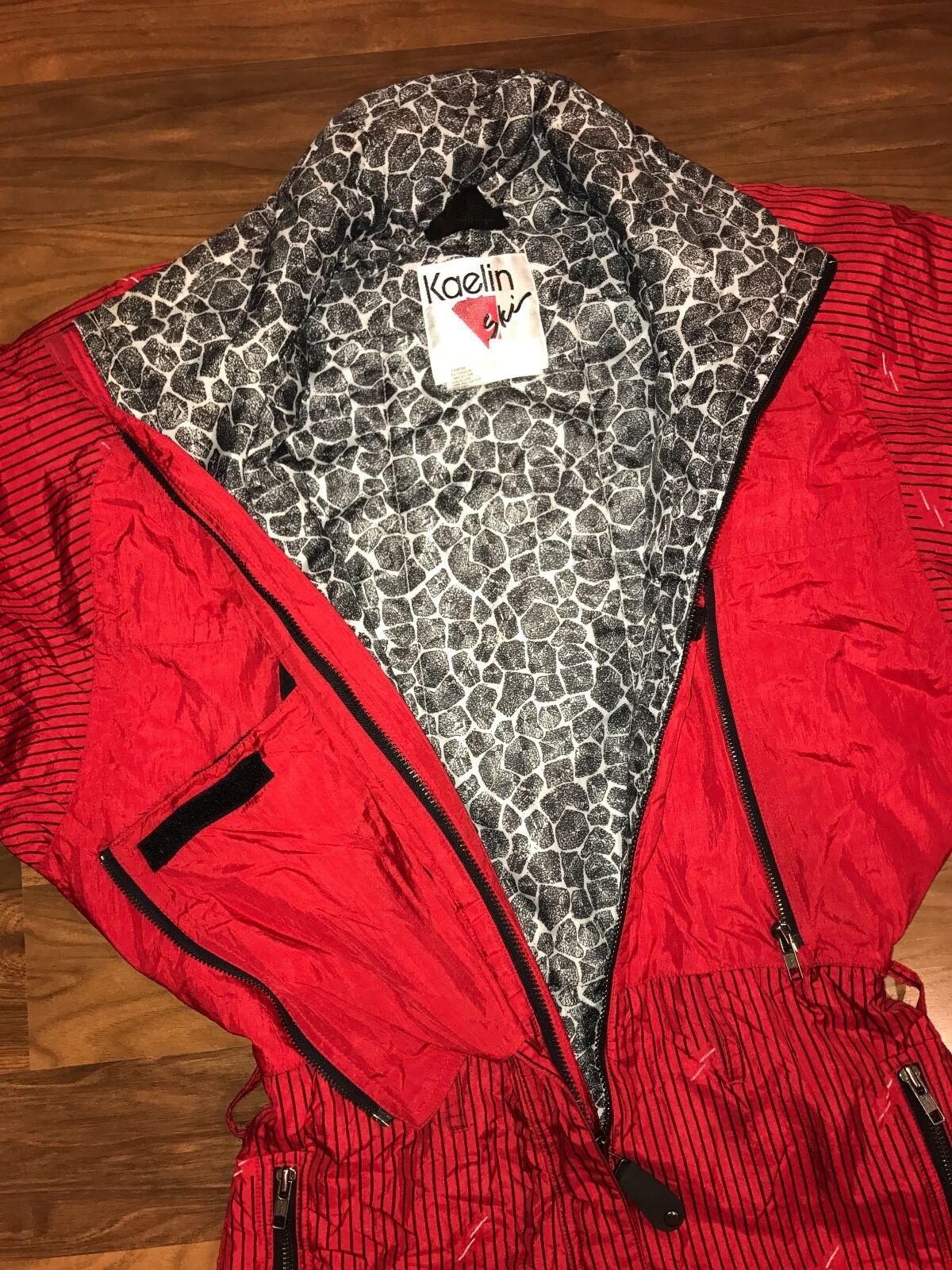 Vtg 80s 90s KAELIN Red Womens 8 One piece Snow Apres SKI SUIT Bib Coat Snowsuit