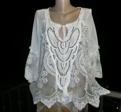 Italy Vintage Häkel Spitze Tunika Bluse Shirt Top Lagenlook*Grau* S M L-36 38 40