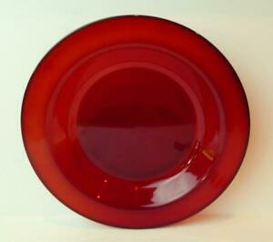 Arcoroc-Luminarc-France-Ruby-Red-Glass-Flat-Rimmed-Soup-Bowl-8-1-2-034