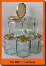 36 X 280ml 12oz HEX PRESERVE HEXAGONAL GLASS JAR JAM HONEY CHUTNEY GOLD LIDS