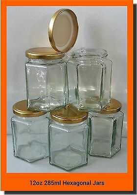 15 X 280ml 12oz HEX PRESERVE HEXAGONAL GLASS JAR JAM HONEY CHUTNEY GOLD LIDS