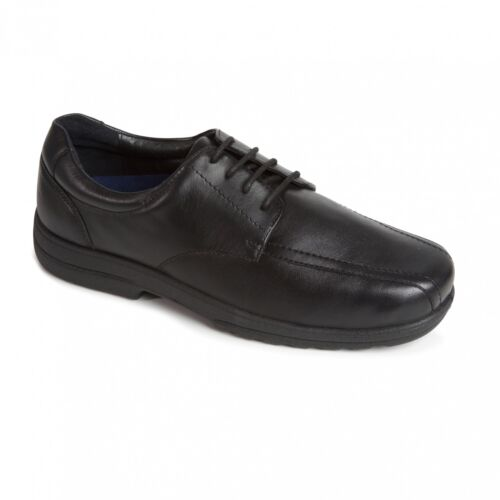 Padders DEXTER Mens Leather Lace Extra Wide Fit Plus Smart Office Shoes Black