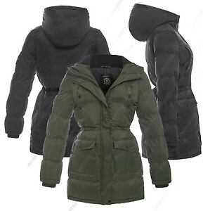 NEW-Womens-PARKA-COAT-Ladies-JACKET-Padded-Quilted-Black-Size-8-10-12-14-16