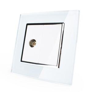 TV-Caja-Enchufe-Antena-Con-Marco-de-cristal-vl-c7-1v-11-LIVOLO-blanco