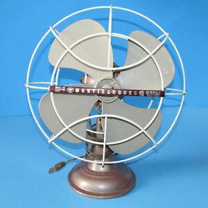 VTG Westinghouse Oscillating Fan Works Quiet Table Top Art Deco Y 35256 10LA4