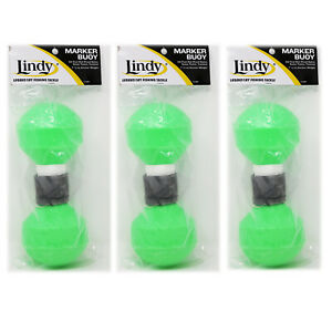 3-PACK-Lindy-Marker-Buoy-For-Fishing-AC187-Internal-Ballast-Weight-Lime-Green