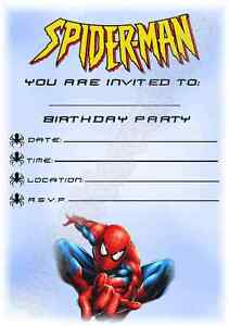 A5 Superhero Kids Childrens Party Invitations X 12 Spiderman