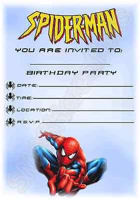 A5 SUPERHERO KIDS CHILDRENS PARTY INVITATIONS X 12 SPIDERMAN PORTRAIT INVITES