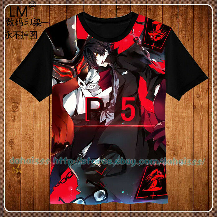 Tee Men's Short Sleeve Unisex Anime Persona 5 Shirts Cos Casual Tops T-shirt  M5