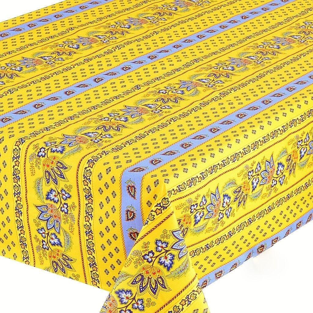 Le Cluny, Lisa jaune-bleu, french Provence enduit Coton Nappe, 52  X 72