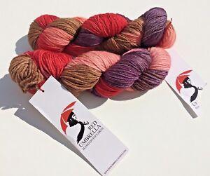 Red-Umbrella-hand-dyed-yarn-superfine-merino-worsted-034-Stone-Fruit-Crisp-034-hanks
