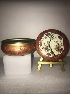 VINTAGE DAHER ROUND TIN W/ LID DECORATED WARE MADE IN ENGLAND ASIAN DESIGN