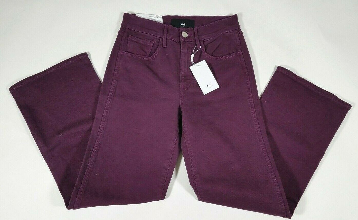 3 x 1 new york Denim Purple Burgundy Shelter Wide Leg Jeans - size 25