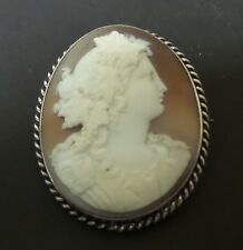 UNUSUAL VICTORIAN PERIOD STERLING SILVER MOUNTED SHELL CAMEO BROOCH, c. 1890