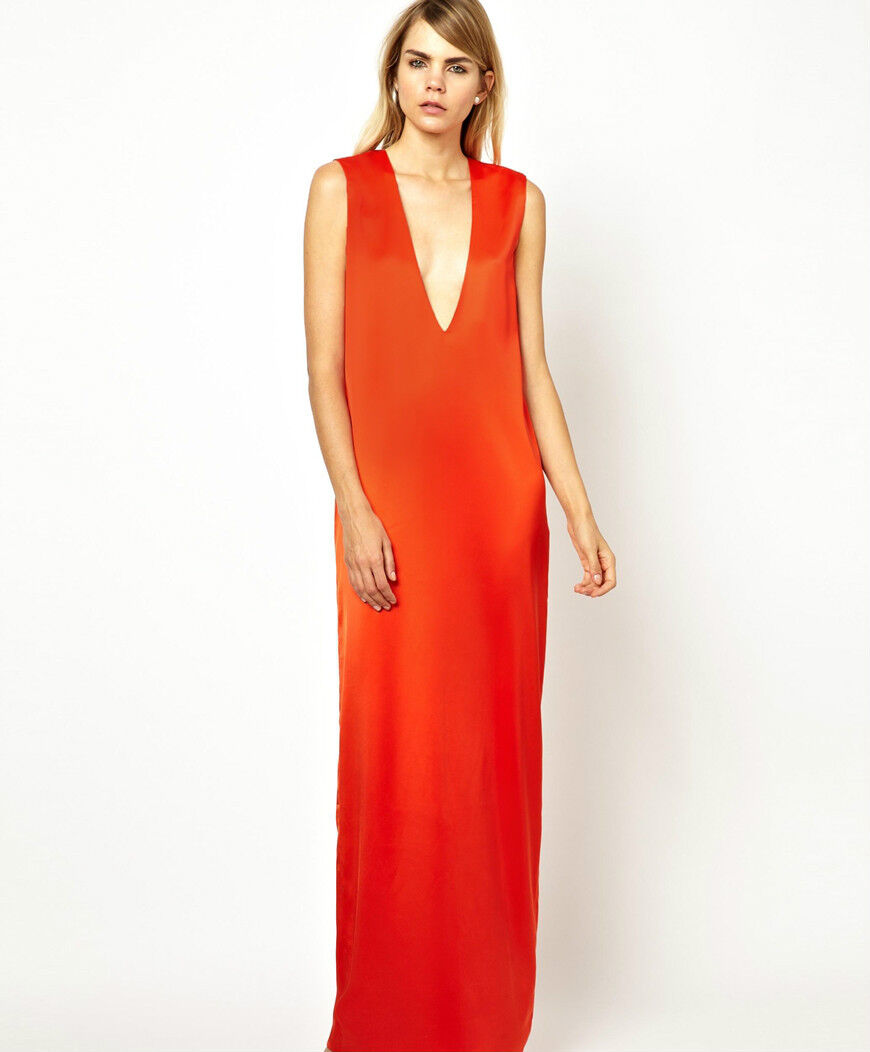 NWT  Designer SOLACE LONDON Column Plunge Maxi Dress Cinnamon UK 6 8 10 12