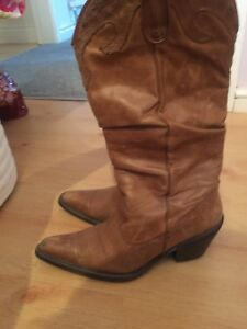 Dune Brown Leather Cowboy Boots Size 4