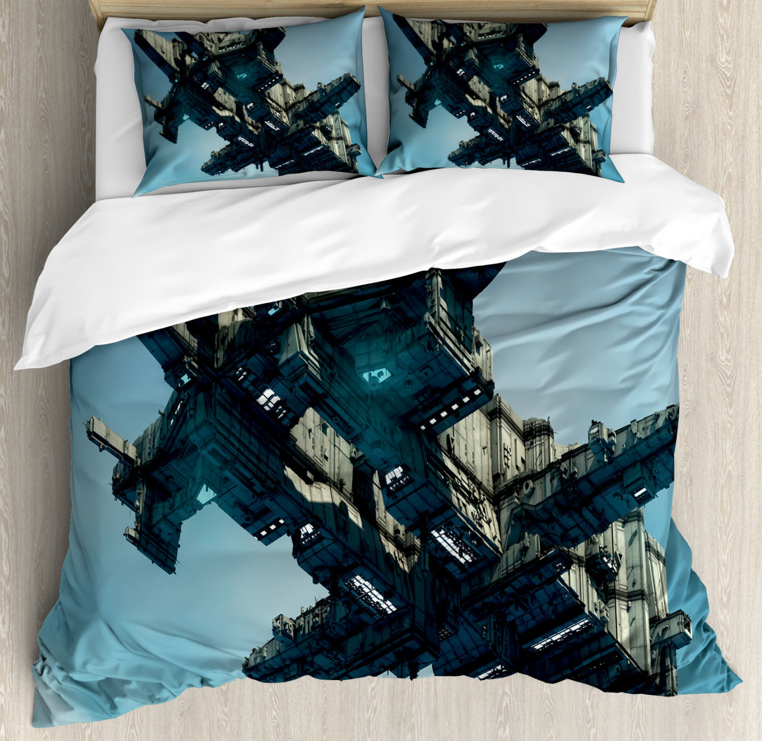 Fantasy Duvet Cover Set with Pillow Shams Sci Fi Alien Ship UFO Print