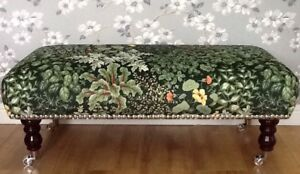 A quality footstool stool in laura ashley living wall green velvet