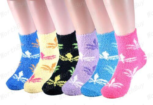 New 6 Pairs Women Cozy Fuzzy Winter Warm Mariguana Ankle Slipper Socks Size 9-11