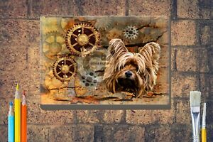 Yorkshire-Terrier-Print-Steampunk-Box-Canvas-A4-A3-A2-A1-Xmas-Mothers-Day-Gift