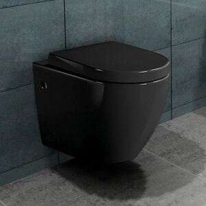 lux aqua wand h nge wc toilette schwarz mit nano beschichtung b2376b ebay. Black Bedroom Furniture Sets. Home Design Ideas