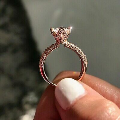 14K Rose Gold Finish 2Ct Round Cut Moissanite Solitaire Engagement Wedding Ring