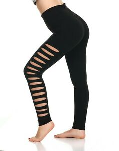 Womens-fashion-High-Waist-leggings-club-wear-Distressed-leg-yoga-fitness-workout