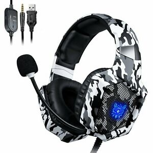 ONIKUMA K8 Gaming Headset Mikrofon LED Stereo 7.1 Ton für PC Laptop PS4 Xbox One