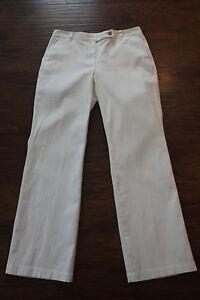Para Mujer Pin Blanco Ballena Pana Lands End Pantalones Talla 8 Mezcla De Algodon Ebay