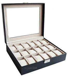 BOX-SCATOLA-CON-VETRINA-PORTA-OROLOGI-IN-ECO-PELLE-STAMPA-RETTILE-18-POSTI-NERO