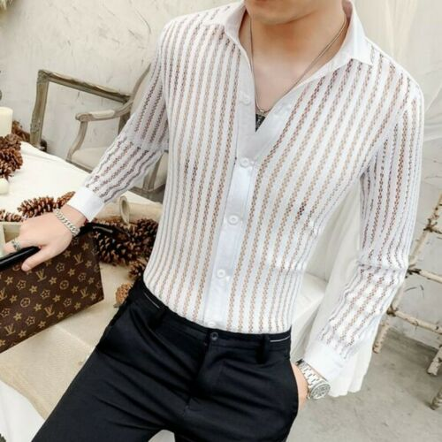 Fashion Mens See Through Tops Button Front Long Sleeve Nightclub Hollow Shirts A