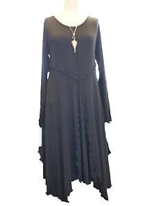 CA213 Caroline Ann Lagenlook Black Balloon Tunic Short Sleeve Made in ENGLAND