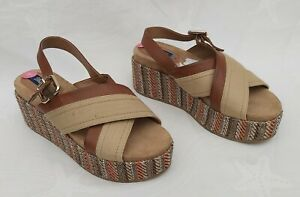 WRANGLER-CHUNKY-BROWN-STRIPE-PLATFORM-WEDGE-SANDALS-UK5-EU38-NEW-FREE-UK-P-amp-P